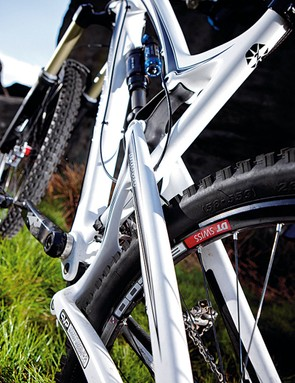 Chainstays and down  tube are Kevlar  reinforced for impact resistance