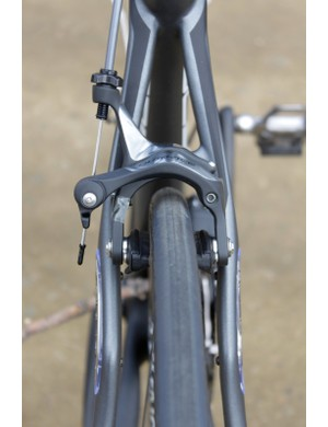 The Roubaix SL3 offers plenty of tire clearance, here it's pictured with a 23mm tire