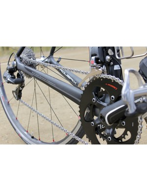 Robust seatstays offer plenty of pedaling stiffness; they terminate at the BB with Specialized's OSBB all carbon bottom bracket