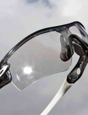 At its lightest, the Oakley Clea-Black Iridium lens truly is remarkably close to fully transparent.  Transition times are quick enough that we weren't even able to get a good shot of the lens before it started to darken in sunlight