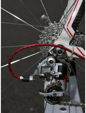 : SRAM Red rear mech and cassette, fed by Nokon cable casing