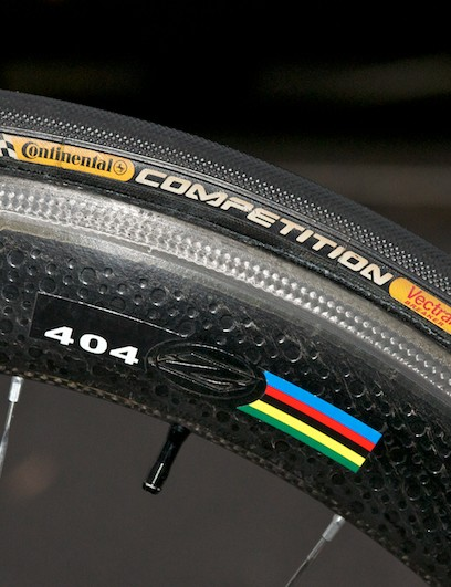 Front Zipp 404 with Continental Competition tubular