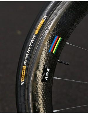 Rear Zipp 404 with Continental Sprinter tubular