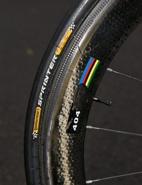 Rear Zipp 404 with Continental Sprinter tubular
