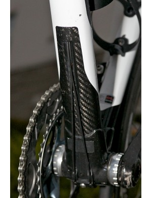 The internally routed gear cables exit just above the bottom bracket