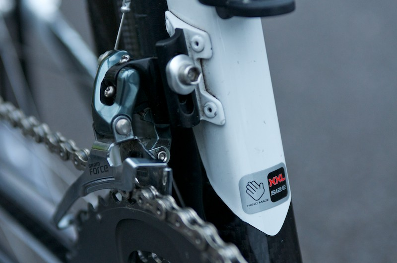 The team use SRAM Force front mechs for increased stiffness