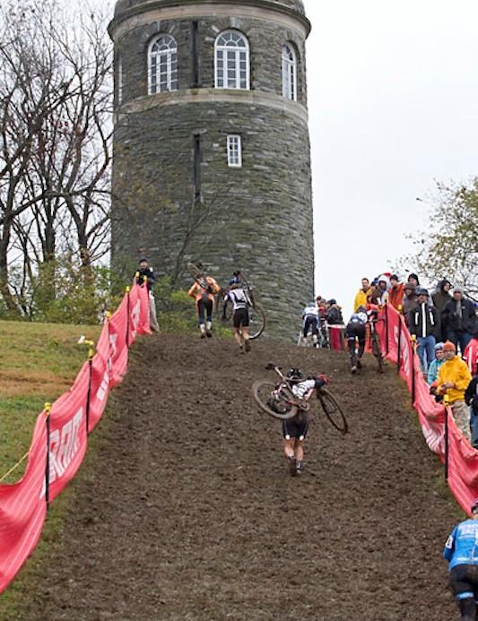 Riders faced a long, steep, muddy run in 2009.