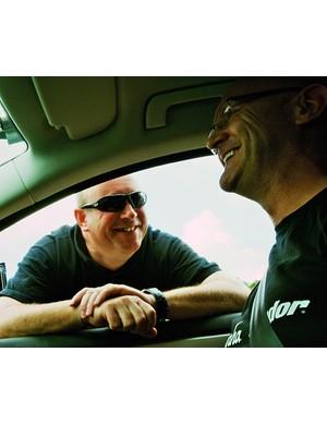 John Herety chats to team mechanic Andy Verrall