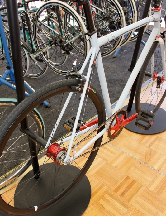 Though it's a fixed gear, the Brougham comes with front and rear brakes for street use