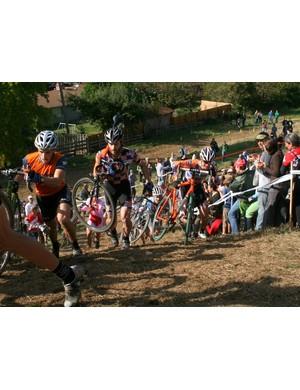 The men tackle a run up (Erik Tonkin, center; Barry Wicks, left)