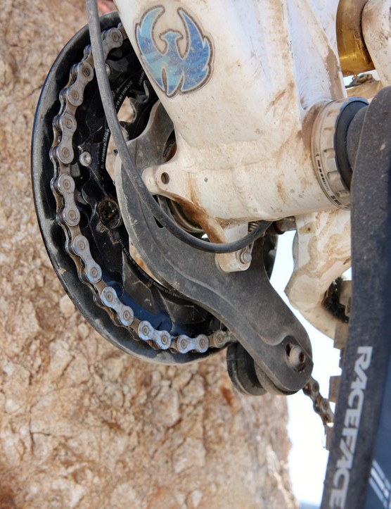 Pivot have revised the ISCG setup on the Firebird for better chain retention when in the inner chainring