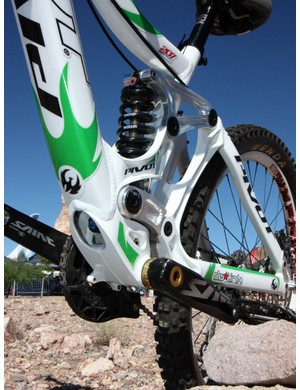 The burly central chassis on the Phoenix DH is said to provide excellent front-to-rear stiffness