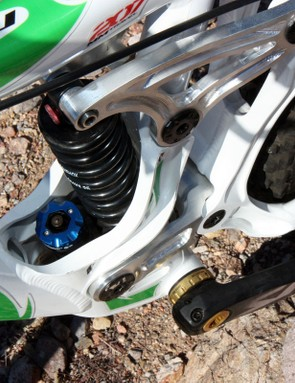 Even though the rear shock is amply surrounded by heaps of metal, all of the adjustments are still easily accessible for tuning