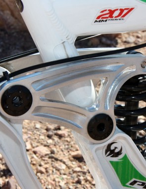 Enormous 17mm and 19mm axles mark each pivot of the Phoenix DH