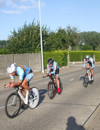 The winning Belgian team in action