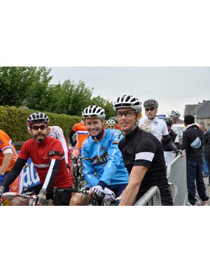 Paul Godfrey, Julian Bray and Ian Osborne line up for the M2 road race