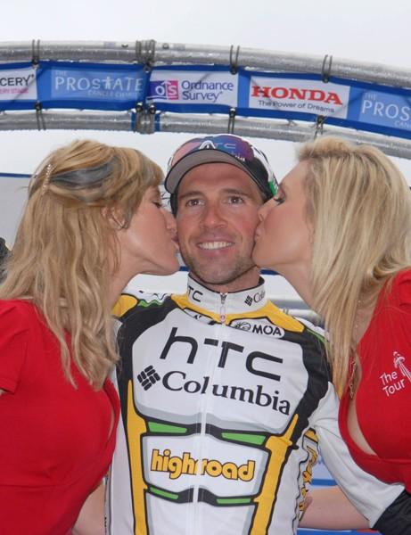 Michael Albasini (HTC-Columbia) celebrates on the Tour of Britain podium