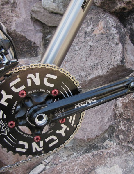 The lightweight KCNC crankset is fitted with 42/29T chainrings