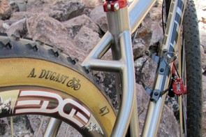 The show bike is built with 47mm-wide Dugast tubulars but the stays have plenty of room for wider rubber