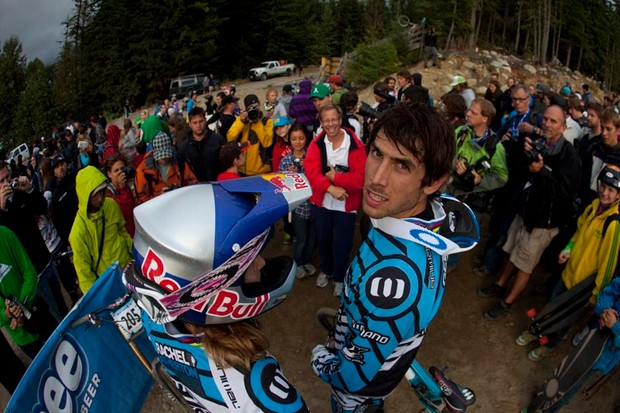 The crowds at Whistler love Gee and Rachel Atherton