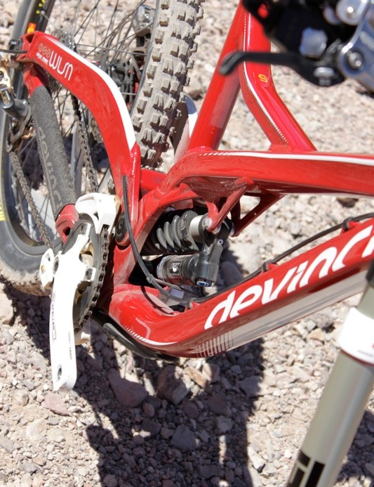 All of the Fox DHX RC4 damper adjustments are easy to reach, a goal of the design