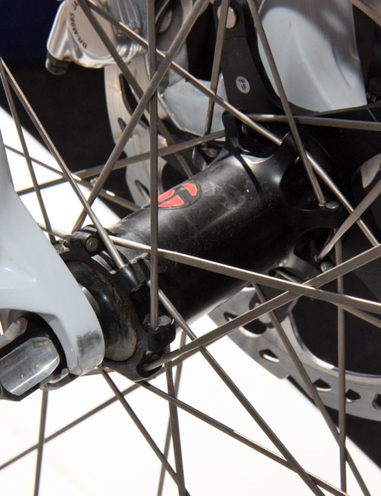 The Top Fuel of Trek World Racing cross-country star Emily Batty sported this prototype straight-pull front hub