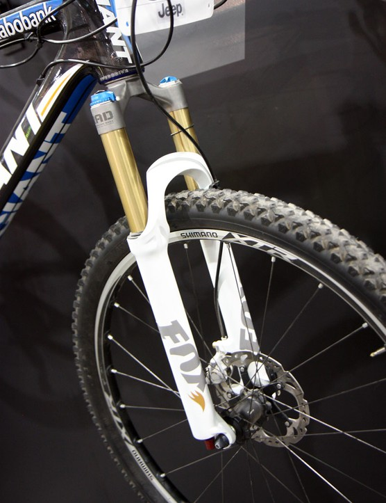 Fox Racing Shox displayed their new Float Ti prototype fork at Interbike – built using a cast one-piece titanium crown and steerer