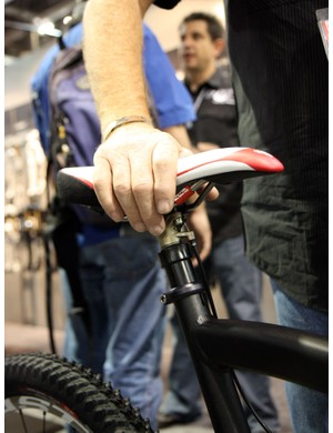 Full travel on the upcoming new Fox Racing Shox DOSS dropper seatpost is 4 or 5in depending on rider preference