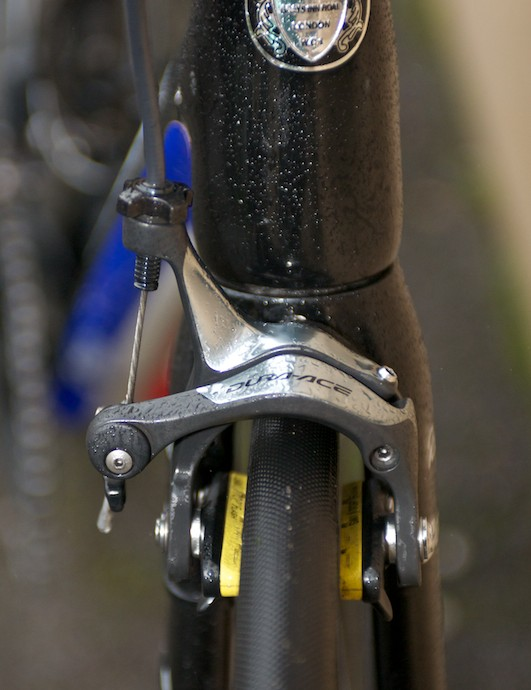 Dura-Ace brake callipers are fitted with SwissStop pads