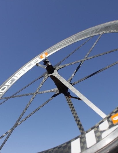 The Madfiber front wheel weighs less than a pound