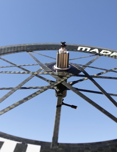 Madfiber's rear wheel uses 18 spokes and a 66mm rim