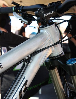 The burly Turner RFX head tube is compatible with multiple steerer sizes and features reinforcing rings at either end plus a down tube gusset