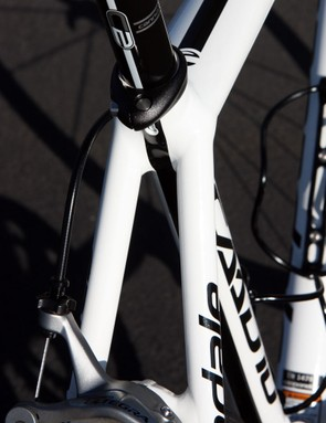 Cannondale say the widely set seatstays and flattened top tube help keep lateral flex at bay
