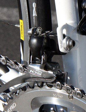 The front derailleur mounts to a braze-on tab