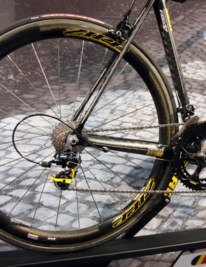 The Ridley Helium sports the increasingly popular mix of big chainstays matched to tiny seatstays