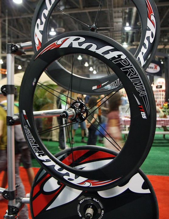 The Rolf Prima TT85 shares its rear wheel with the TDF85 but drops down to a paltry 10-spoke count up front