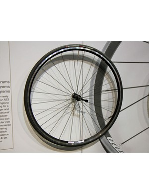Velocity's 23mm-wide A23 rims offer better casing support for surer cornering and improved road feel