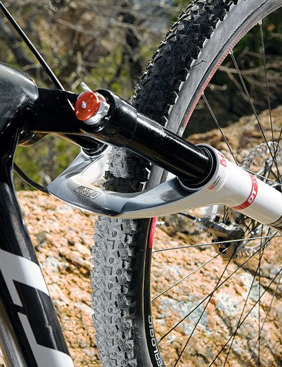 The new dT Swiss 100mm XCr fork adds stiffness and 20mm of travel