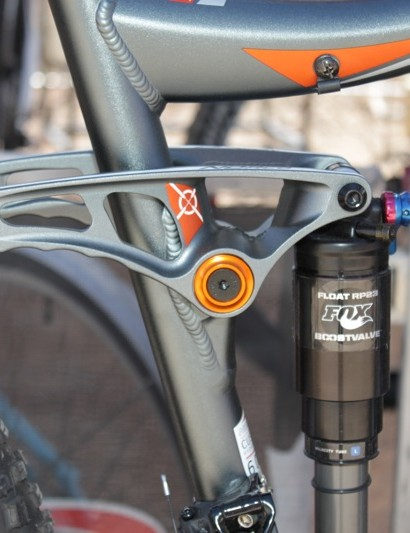 The rocker link on the Range SE has an ergonomic grip for hike-a-bikes