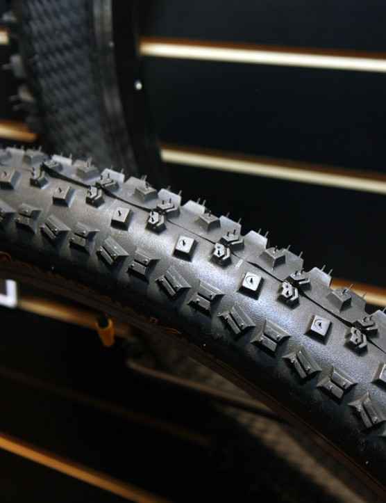 Continental's Mountain King tyre gets a complete overhaul for 2011 with a blockier and more aggressive tread design that's expected to provide surer cornering on hard ground with less knob squirm