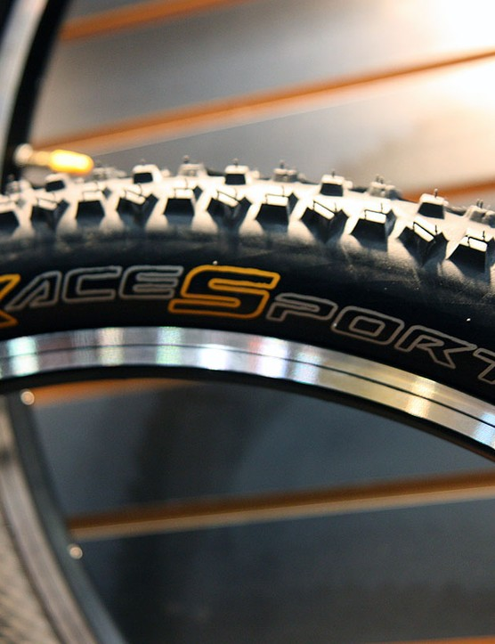 Continental's new Race Sport casings are tubeless-ready with a UST bead but just a thin interior sidewall coating that requires minimal sealant