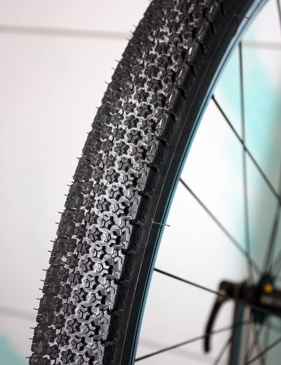 Michelin's interesting concept 'trekking' tyre is intended for use in all conditions thanks to its multidirectional sipes, finger-like knobs and soft compound