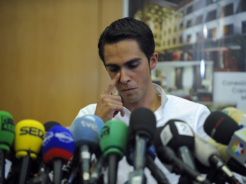 Alberto Contador gives a press conference to deny his guilt after testing positive for clenbuterol