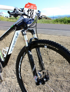 Willow Koerber's (Subaru-Trek) RockShox Reba XX fork is shortened to 90mm of travel instead of the stock 100mm to help bring the front end down