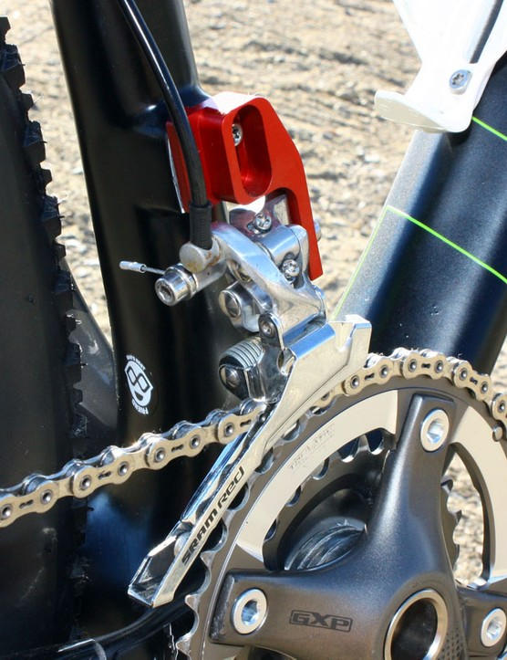 Custom adapters are used to mount the SRAM Force front derailleurs on the frames until the proper direct-mount XX models are ready