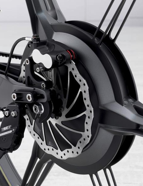 The motor is housed in the rear wheel hub, a disc brake is also used