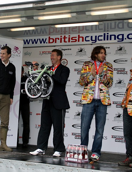 The Brompton World Championship men's podium: Paul Curran (1st),     Pau Milla Canals (2nd) and     Marcel Batlle Giró (3rd)