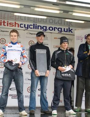 Blenheim Palace TT men's podium: Blake Pond (3rd), Matt Bottrill (1st) and Andrew Griffiths (2nd)