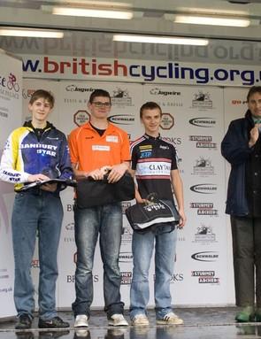 Blenheim Palace TT junior podium: Cameron Foster (3rd), Jake Martin (1st), Rob Yeatman (2nd)