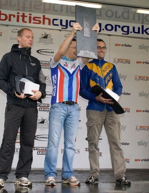 Trike world championships podium: Joeri Meyen (3rd), Carl Saint (1st), 2 Ralph Dadswell (2nd)